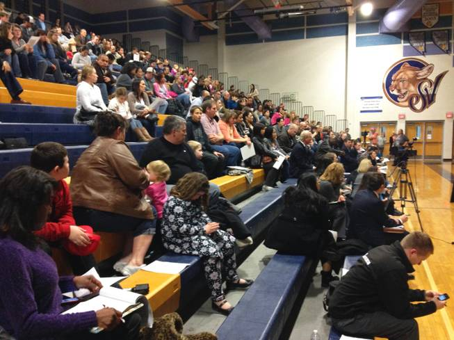 About 250 parents packed the Sierra Vista High School gym on Monday, Jan. 7, 2013, for the Clark County School District's town hall meeting to address school overcrowding. Possible solutions include major rezoning and switching to a year-round calendar.