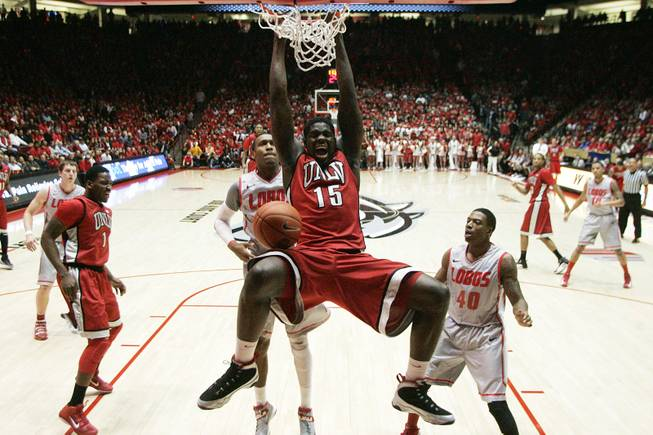 UNLV forward Anthony Bennett dunks on New Mexico during their game Wednesday, Jan. 9, 2013 at The Pit in Albuquerque. New Mexico won the game 65-60.