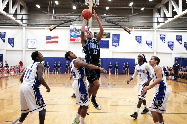 Chris Echols of Foothill goes up for a basket during their boys basketball game at Basic High School in Henderson on Wednesday, January 9, 2013.