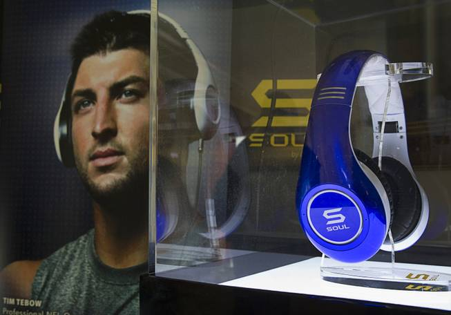 Tim Tebow Signature Series headphones by Soul Electronics are displayed during the 2013 International CES Thursday, Jan. 10, 2013.