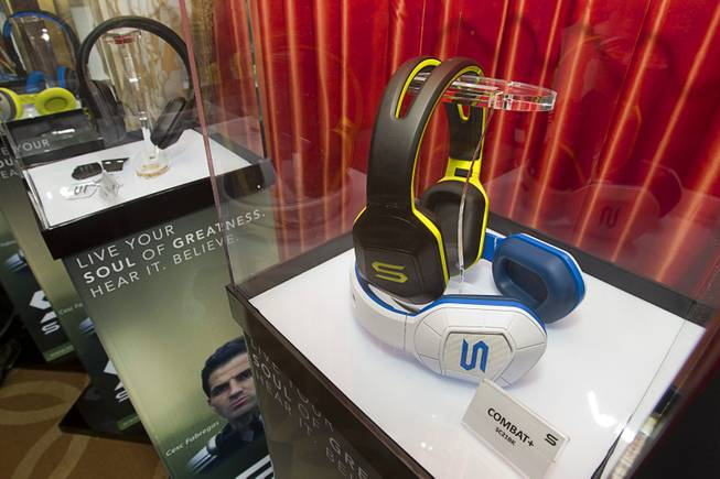 Headphones are displayed during a news conference to promote the Tim Tebow Signature Series headphones by Soul Electronics at the 2013 International CES Thursday, Jan. 10, 2013.