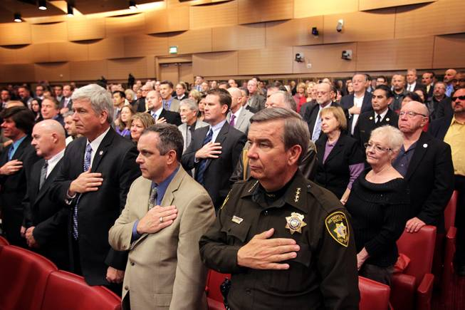 Sheriff Doug Gillespie stands for the National Anthem before the State of the City address at Las Vegas City Hall on Thursday, January 10, 2013.