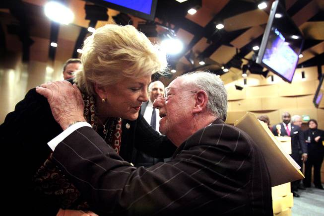 Mayor Carolyn Goodman gets a kiss from her husband Oscar Goodman after delivering the State of the City address at Las Vegas City Hall on Thursday, January 10, 2013.