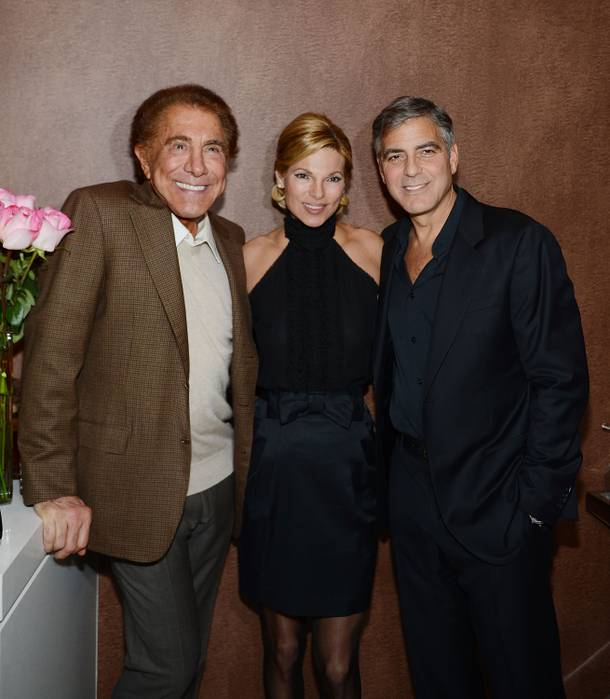 Steve Wynn, Andrea Wynn and George Clooney celebrate the launch of Clooney's Casamigos Tequila at Andrea's in the Encore on Wednesday, Jan. 9, 2013.
