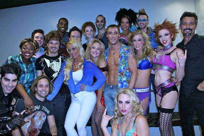 "Coco Austin with the cast of ""Rock of Ages"" at The Venetian."