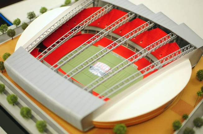 A model of the UNLV Now stadium project is shown here at the Nevada System of Higher Education's Board of Regents meeting on Friday, Jan. 11, 2013. UNLV and its private developer partners updated regents on the project, which now features a 100-yard-long video screen and six VIP suites seating 300 people.