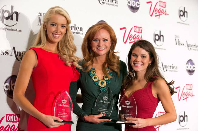 Quality of Life Award winners Miss Tennessee Chandler Lawson, Miss Alabama Anna Laura Bryan and Miss Maryland Joanna Guy at the 2013 Miss America Pageant at Planet Hollywood on Thursday, Jan. 10, 2013.
