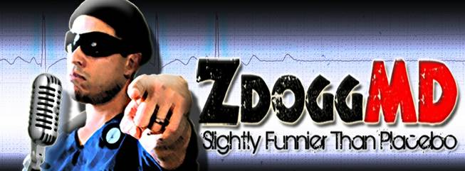 The logo from Zubin Damania's website, ZDoggMD.com, where he produced videos to demystify and make more tangible medicine