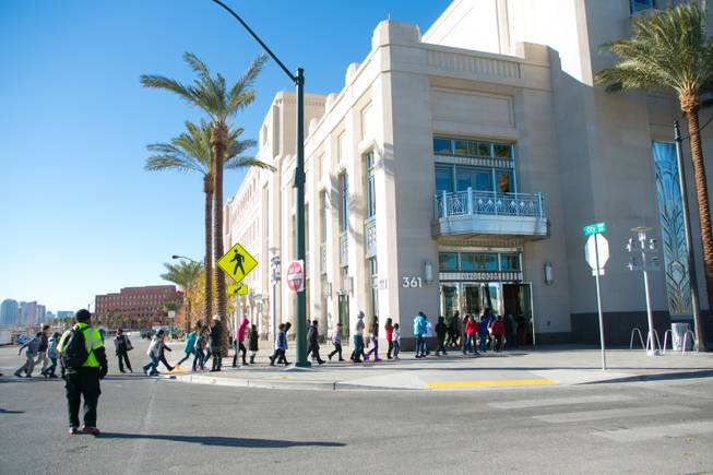 4th and 5th graders from schools all over the valley arrive at The Smith Center to watch the Las Vegas Philharmonic Youth Concert Series, Friday, Jan. 11, 2013.