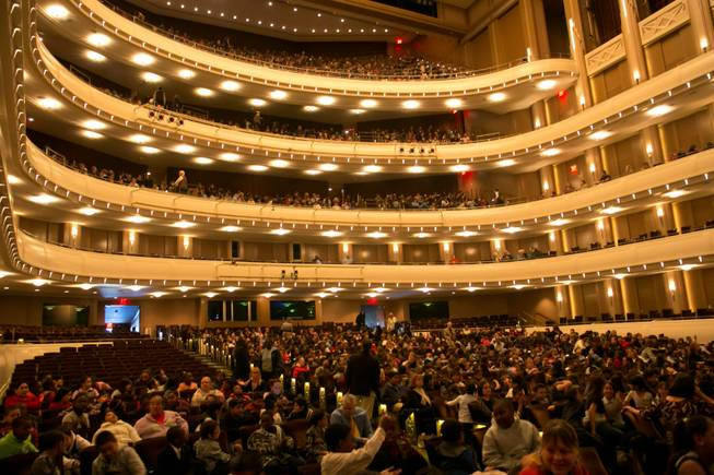 4th and 5th graders from schools all over the valley take their seats at The Smith Center to watch the Las Vegas Philharmonic Youth Concert Series, Friday, Jan. 11, 2013.