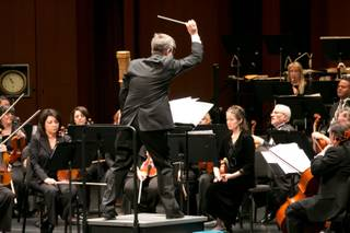 Taras Krysa conducts the Las Vegas Philharmonic during the Youth Concert Series at The Smith Center to an audience of 4th and 5th graders from schools all around the valley, Friday, Jan. 11, 2013.