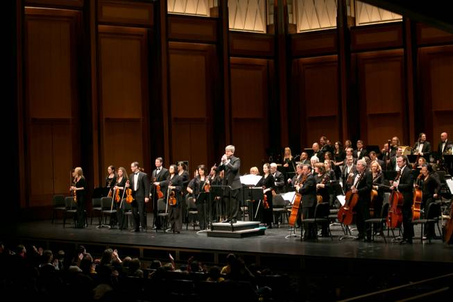 Las Vegas Philharmonic guest conductor Taras Krysa addresses the audience of 4th and 5th graders from schools all over the valley during the start of the Youth Concert Series at The Smith Center, Friday, Jan. 11, 2013.