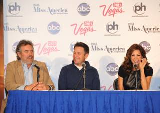 2013 Miss America Pageant Executive Director Anthony Eaton and co-hosts Chris Harrison and Brooke Burke-Charvet speak at a press conference at Planet Hollywood on Friday, Jan. 11, 2013.