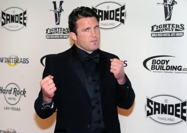 Chael Sonnen arrives at the 2013 Fighters Only World Mixed Martial Arts Awards at The Joint in the Hard Rock Hotel on Friday, Jan. 11, 2013.