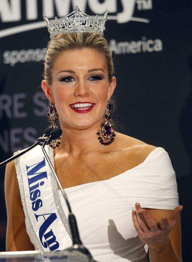 2013 Miss America 2013 Mallory Hytes Hagan speaks during a news conference after winning the 2013 Miss America Pageant in PH Live at Planet Hollywood on Saturday, Jan. 12, 2013.