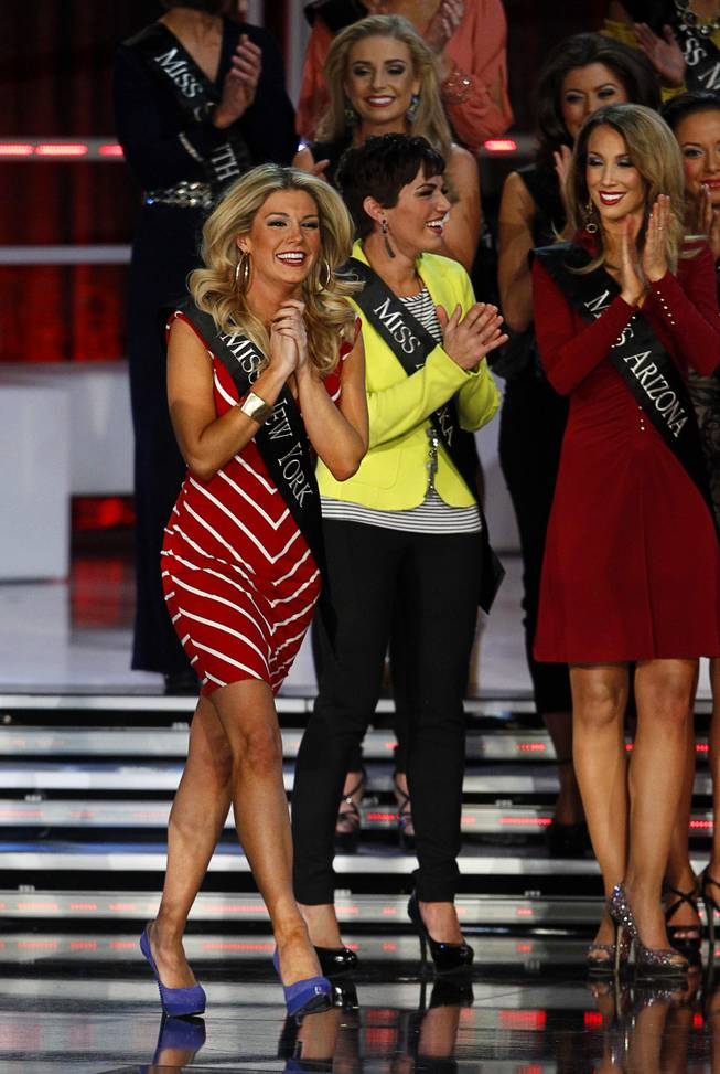 Miss New York Mallory Hytes Hagan reacts as she is named as a semifinalist during the 2013 Miss America Pageant in PH Live at Planet Hollywood on Saturday, Jan. 12, 2013. Hagan was later named 2013 Miss America.
