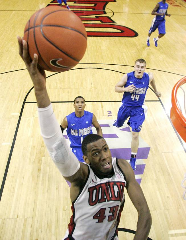 UNLV forward Mike Moser drops in a lay up against Air Force during their game Saturday, Jan. 12, 2013 at the Thomas & Mack. UNLV won in overtime, 76-71.