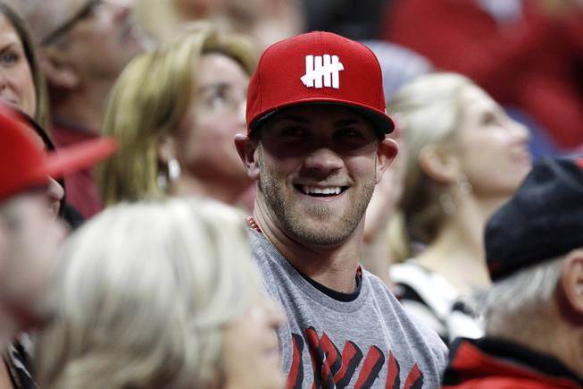 Washington Nationals baseball player Bryce Harper takes in the UNLV vs. Air Force game Saturday, Jan. 12, 2013 at the Thomas & Mack. UNLV won in overtime, 76-71.
