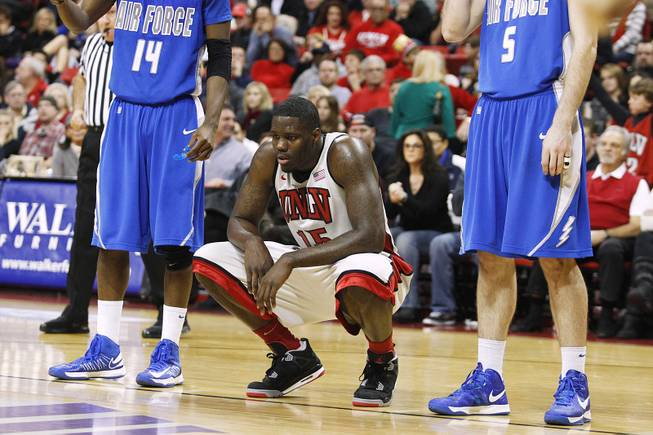 UNLV forward Anthony Bennett crouches down during a free throw against Air Force during their game Saturday, Jan. 12, 2013 at the Thomas & Mack. UNLV won in overtime, 76-71.
