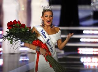 Miss New York Mallory Hytes Hagan, 23, reacts after being crowned 2013 Miss America during the 2013 Miss America Pageant in PH Live at Planet Hollywood on Saturday, Jan. 12, 2013.
