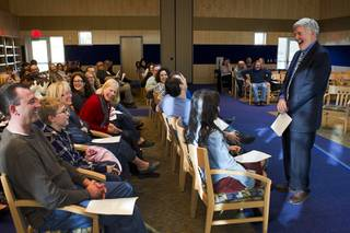 Child psychologist and author Michael Thompson, right, laughs as he questions Justin Mosher, 10, (2nd left) during a free parenting workshop at the Adelson Educational Campus in Summerlin Sunday, January 13, 2013.