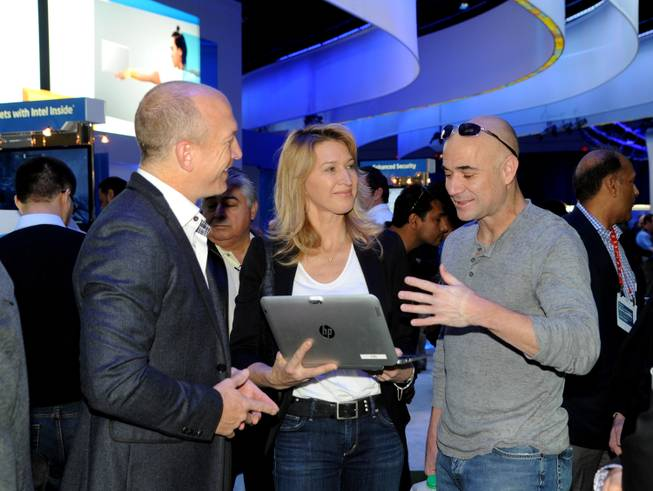 Intel brand manager Danny Cistofano, Steffi Graf and Andre Agassi at 2013 CES.
