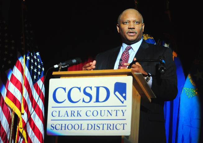 "Clark County Schools Superintendent Dwight Jones delivers his second annual ""State of the District"" address on Monday, Jan. 14, 2013, at Western High School. Jones unveiled a new online ""Open Book"" portal, which makes the district's financial information public, and touted the district's academic gains last school year."