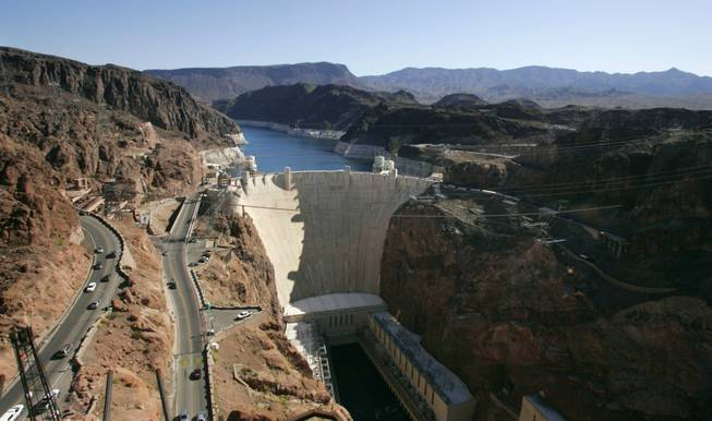 A view of Hoover Dam from the Mike O'Callaghan-Pat Tillman Memorial Bridge.