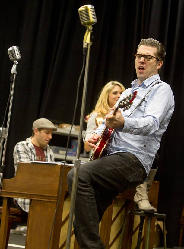 Robert Britton Lyons performs as Carl Perkins during a rehearsal for