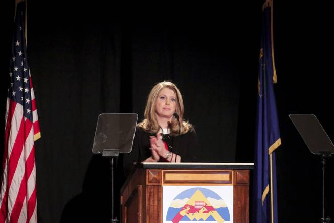 North Las Vegas Mayor Shari Buck gives the State of the City address, Tuesday, Jan. 15, 2012.