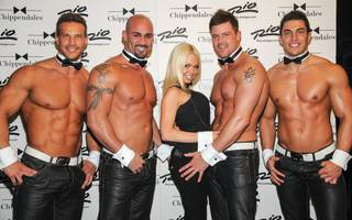 Porn star Jesse Jane with Chippendales dancers Sami Eskelin, John Rivera, Nathan Minor and Jon Howes in The Rio on Tuesday, Jan. 15, 2013.