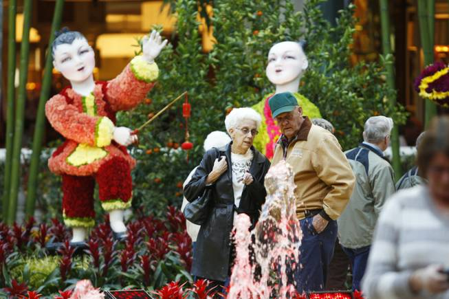 Tourists visit the Bellagio Conservatory & Gardens Chinese New Year display Tuesday, Jan. 15, 2013.