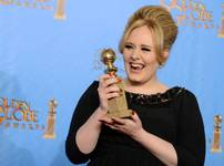 "Adele with the award for Best Original Song in a Motion Picture for ""Skyfall"" backstage at the 70th Annual Golden Globe Awards at the Beverly Hilton Hotel on Sunday, Jan. 13, 2013, in Beverly Hills, Calif."