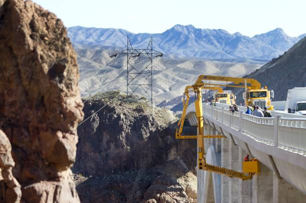 Nevada Department of Transportation workers and Stantec engineers conduct a safety inspection of the Mike O'CallaghanPat Tillman Memorial Bridge Wednesday, January 16, 2013.