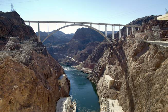 A view of the Mike O'Callaghan-Pat Tillman Memorial Bridge as seen from the Hoover Dam Wednesday, January 16, 2013.