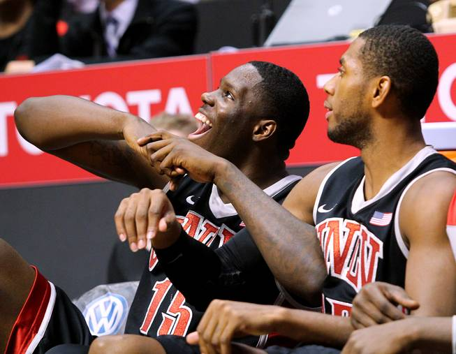 UNLV forwards Anthony Bennett and Mike Moser watch during the final minutes as the Rebels pull away from San Diego State during their game Wednesday, Jan. 16, 2013 at Viejas Arena in San Diego. UNLV upset SDSU 82-75.