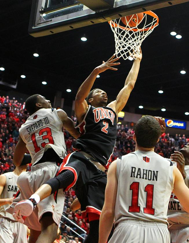 UNLV forward Khem Birch gets a put back to seal the Rebels win over San Diego State during their game Wednesday, Jan. 16, 2013 at Viejas Arena in San Diego. UNLV upset SDSU 82-75.