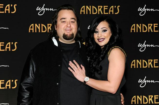 "Austin ""Chumlee"" Russell and a guest arrive at the grand opening of Andrea's at the Encore on Wednesday, Jan. 16, 2013."