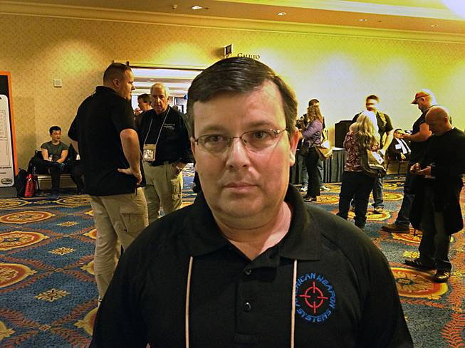 Ty Taylor, 49, is a New Hampshire firearm dealer and manufacturer who attended the 2013 SHOT Show at the Sands Convention Center.