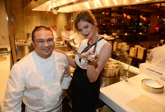 Chef Joseph Elevado and Kate Upton at the grand opening of Andrea's at the Encore on Wednesday, Jan. 16, 2013.