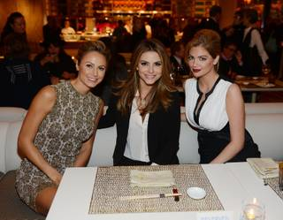 Stacy Keibler, Maria Menounos and Kate Upton attend the grand opening of Andrea's at the Encore on Wednesday, Jan. 16, 2013.