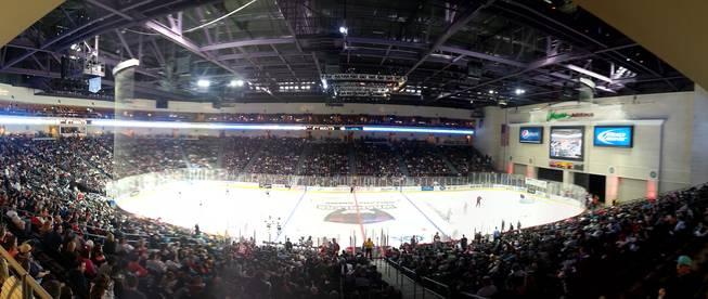 A panoramic image of the Orleans Arena as the Wranglers hosted the Colorado Eagles on Saturday night before a crowd of 6,519.