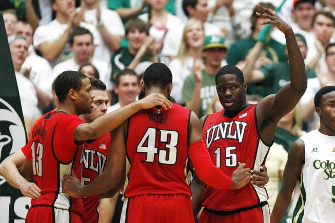 UNLV forward Anthony Bennett motions to the bench to pull him out during a break in action against Colorado State Saturday, Jan. 19, 2013 at Moby Arena in Ft. Collins, Colo. Colorado State won the game 66-61.