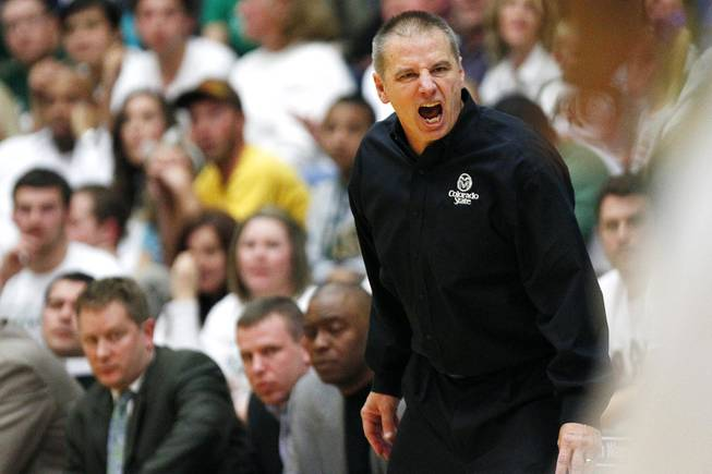 Colorado State coach Larry Eustachy yells an an official after a call during the Rams' game against UNLV on Saturday, Jan. 19, 2013, at Moby Arena in Fort Collins, Colo. Colorado State won the game 66-61.
