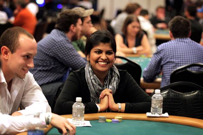 Rajashree Todmal of Carnegie Mellon University plays poker during the MBA Poker Championship and Recruitment Weekend at Planet Hollywood in Las Vegas on Saturday, January 19, 2013.