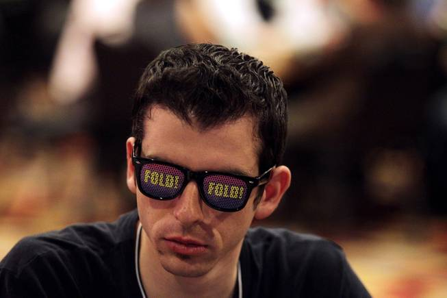 Jared Lerner of New York University plays poker during the MBA Poker Championship and Recruitment Weekend at Planet Hollywood in Las Vegas on Saturday, January 19, 2013.