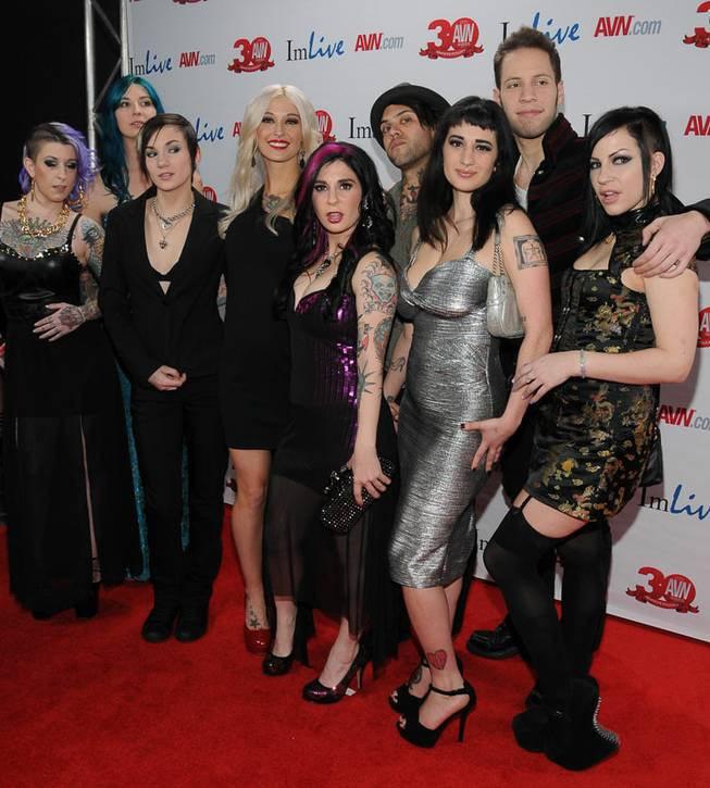 Las Vegas-based Joanna Angel and friends arrive at the 2013 AVN Awards red carpet at The Joint in the Hard Rock Hotel on Saturday, Jan. 19, 2013.