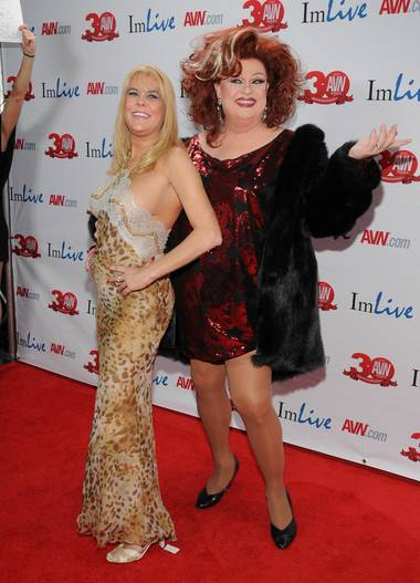 Sunset Thomas and Jimmy Emmerson arrive at the 2013 AVN Awards red carpet at The Joint in the Hard Rock Hotel on Saturday, Jan. 19, 2013.