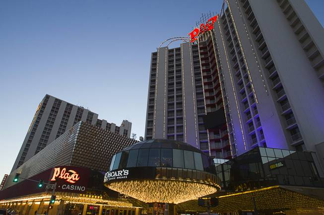 An exterior view of the Plaza casino in downtown Las Vegas, Sunday, Jan. 20, 2013.
