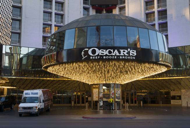 An sign advertises Oscar's restaurant at the Plaza casino in downtown Las Vegas, Sunday, Jan. 20, 2013.